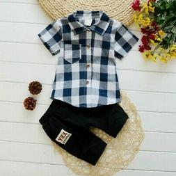 0-5T Toddler Boys Plaid Blouse Shirt Top & Pants Outfits Sui