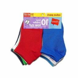 10-Pack Hanes Boys Toddler Low Cut Socks - Assorted Colors -