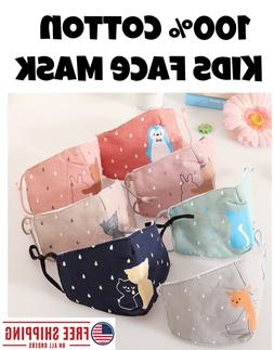 100% Cotton Kids Animal Face Masks; Face Mask for Child Boys