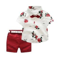 Kids Boys Summer Clothes Set Floral Short Sleeve Shirt Tops+