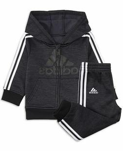 Adidas 2 Piece Active Set Black Full-Zip Sweatshirt and Pant