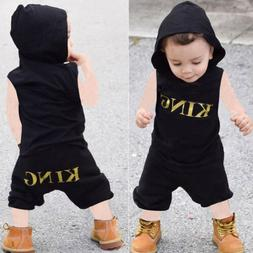 2 Pieces KING Sleeveless Hooded Top and Shorts Set Summer Cl
