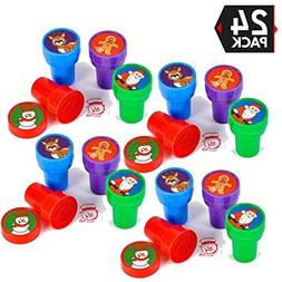 24 Christmas Assorted Bright Colored Plastic Stamps - Self I