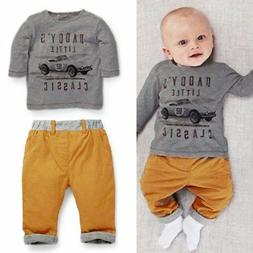 2PCS Car Baby Boy Girls Sets Outfits Top Tee T-Shirt+Pants C