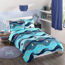 2pcs Kids Quilt Bedspread Comforter Set Throw Blanket for Bo