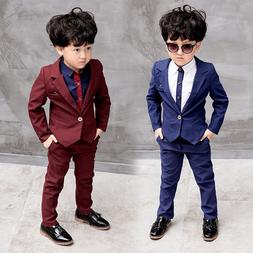 2pcs Kids Baby Boys Formal Suit For Wedding Jackets Concert