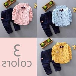 2PCS Toddler Kids Baby Boys Shirt Tops+Long Pants Clothes Ou
