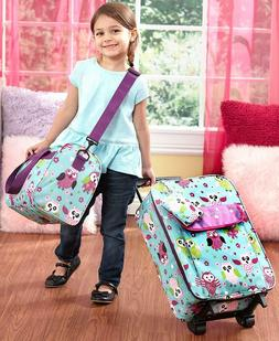 3 PC Kids Travel Rolling Luggage Suitcase Duffel Tote & Clut
