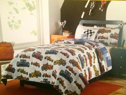 3 PC KIDS TWIN SET BOY ZONE RACE CAR BEDDING BOYS ROOM DECOR