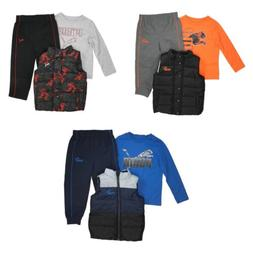Puma 3 Piece Long Sleeve Tee Vest and Pants Set for Boys
