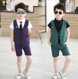3pcs Kids Baby Boys Gentleman Suit For wedding party Shirt+V