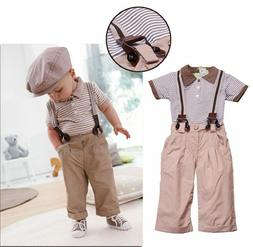 3PCS NEW Baby Boys Stripe T-shirt + trousers +shoulder strap