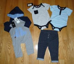 7 For All Mankind 4 Pc Lot Baby Boys Romper Coverall Hoodie