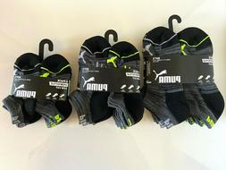 6 Pairs PUMA Sportstyle Low Cut Socks for Boy's, Black & Gra
