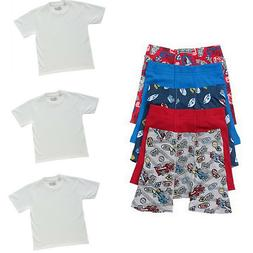 8 PC Boys' Boxer Brief Underwear T Shirts Bundle Lot Toddler