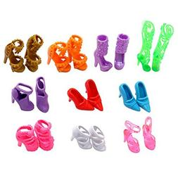 EastVita 10 Pairs of Doll Shoes, Fit Dolls Multicoloured, 1