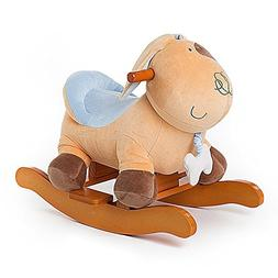 Labebe Baby Wooden Rocking Horse Yellow Puppy/Dog, Boys & Gi