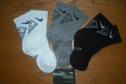NIKE,YOUTH,3 PACK GREEN/WHITE/BLACK CREW SOCK