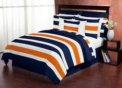 Sweet Jojo Designs Navy Blue, Orange and White Stripe 4 Piec