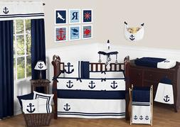 Sweet Jojo Designs Anchors Away Nautical Navy and White Boys