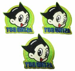 Astro Boy Head and Logo Embroidered Patch Set of 3 Patches