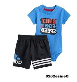 """Baby Boy Adidas """"Built for Speed """" Tee & Shorts Set Size 3 M"""