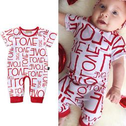 Baby Boy Girl Love Romper Jumpsuit Pajama Clothes Outfits fo