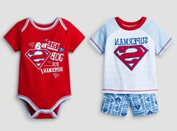 Baby Boy Superman 3 Pieces Shirt Shorts Bodysuit Blue Red NW
