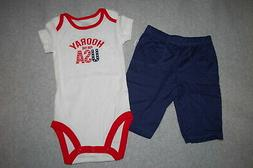 Baby Boys Outfit HOORAY FOR U.S.A. White Red T-Shirt KNIT PA