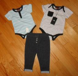 7 For All Mankind Baby Boys Outfit Set 3 Pc Pants & 2 Bodysu