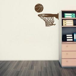 Basketball Sports Ball And Rim Net For Fans Wall Stickers Vi