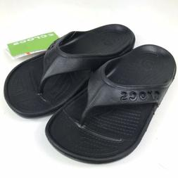Crocs Baya Flip Flops Youth Juniors Size 2 Black Unisex Boys