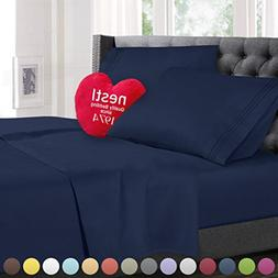 Twin XL Size Bed Sheets Set Navy Blue, Highest Quality Beddi