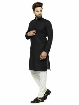 Black Cotton Kurta Pajama For Men Yoga Indian Clothing Ethni