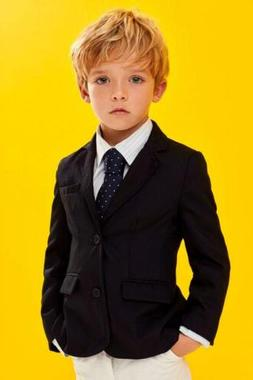 Black Jacket+White Pants Suit For Boy Customized Kid Evening