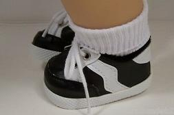 BLACK Sporty Sport Tennis Doll Shoes For Bitty Baby Boy & Gi
