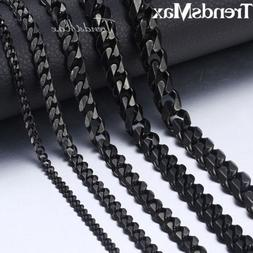 Black Tone Stainless Steel Necklace for Mens Boys Curb Cuban