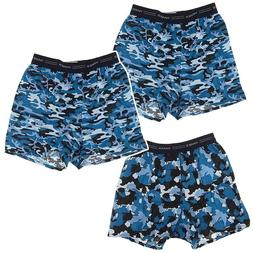 Hanes Blue Camo Print Set of 3 Cotton Boxers for Boys Boxer