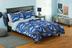 Your Zone Blue Dinosaurs Bed in a Bag Kids Bedding Set, Full