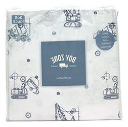 Boy Zone Blueprint Construction Vehicles Twin Size Sheet Set