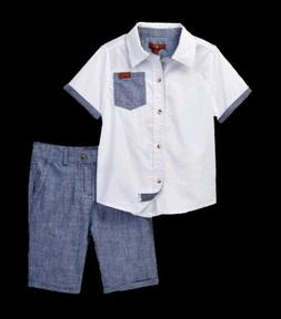 7 For All Mankind Boy 2 Piece Outfit Button Up Shirt Shorts