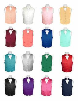 BOY'S Dress Vest and Boys BOW TIE Solid Color Bow Tie Set fo