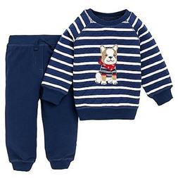 Little Me Boys 2 Piece Bulldog Quilted Sweatshirt and Pant S