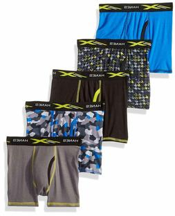 Hanes Boys' Active Cool X-Temp Boxer Brief 5-Pack, Assorted,