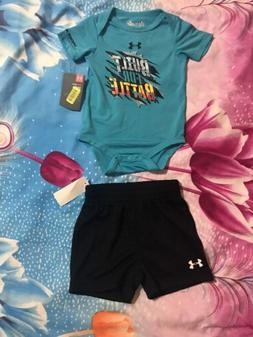 Under Armour Boys Built For Battle Bodysuit & Black Shorts S