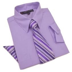 Boys Dress Shirt with Tie and Handkerchief #JL26