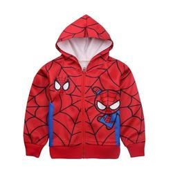 Boys Girls Cartoon Spiderman Superhero Hooded Zipper Sweatsh