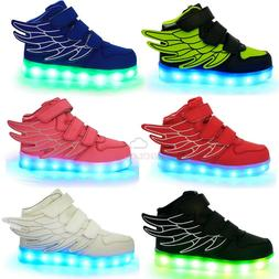 Boys Girls USB Charging LED Light Shoes for Kids Flashing Da