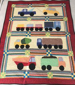 """Boys Handmade Patchwork and Applique Baby Cot Quilt - """"Const"""