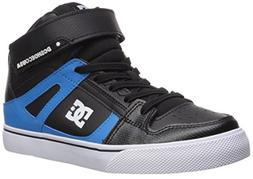 DC Boys' Pure HIGH-TOP SE EV Skate Shoe, Black/RED/Blue, 4.5